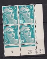 Coin Daté Timbre Marianne De Gandon N° 810** (28.8.51) - Coins Datés