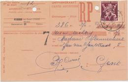 Ontvangkaart Carte - Recepisse 19?? Eeklo Stempel Onderaan 2 Letters Met Nr.  Postzegel 686 A.  3 Bfr. - Documentos Del Correo