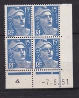 Coin Daté Timbre Marianne De Gandon N° 886** (7.5.51) - 1940-1949