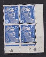 Coin Daté Timbre Marianne De Gandon N° 886** (9.11.51) - 1940-1949