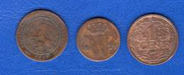 Pays  Bas  1/2  Cent  1837  +  2 Pieces - 1815-1840 : Willem I