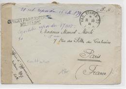 1914 - ENVELOPPE FM Du VAGUEMESTRE ETAPES 22 AAO à CATTARO (KOTOR MONTENEGRO) SP 502 Avec CENSURE => PARIS - Postmark Collection (Covers)