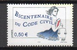 - FRANCE Variété 3627b ** - 0,50 € Code Civil 2004 - 2 BANDES DE PHOSPHORE A GAUCHE - Cote 15 EUR - - Errors & Oddities