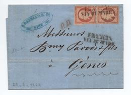 1864 - LETTRE De NICE Avec CACHET FRANCIA VIA DI MARE Sur PAIRE N° 23 - Marcofilie (Brieven)