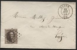 N°14 Obl. LP 151 S/lettre Brief GLONS Vers Liège 1865. Superbe Mais Patte Arrière Manquante - 1863-1864 Medallions (13/16)