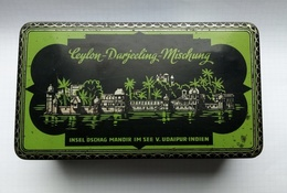 Antique Tin Box Tea 1930 Ceylon Darjeeling Mischung , Japan Vulcan Fudschiyama , Tin Case - Autres Collections