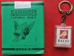 COLLECTION  Paquet De GAULOISES VERTES Filtre Caporal Doux JACNO + Porte Clef BALTO - Cigarettes - Accessoires