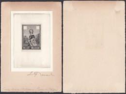 Belgique - Essai 1962Reine Louise Marie, Projet Non Adopté En Noir Sur Carton Blanc - Signé E.Renard  (DD) DC2929 - Proofs & Reprints