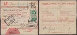 Belgique - Nº283(2) -CF Nº169 Obl Bxl Sur Récépisé De Colis Postal Vers Mettet 13/10/32 Affr.Mixte Et CF  (DD) DC2935 - Ferrovie