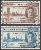Pitcairn Islands. 1946 Victory. MH Complete Set. SG 9-10 - Stamps