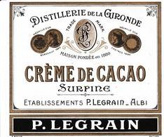 ALBI / LEGRAIN / DISTILLERIE DE LA GIRONDE / CREME DE CACAO - Etiquettes