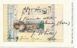 ROSE  Mme DELAUNAY  FELECIE ROSE BUNZLI DITE ROSE   AUTOGRAPHE ET DEDICACE  DE J WHITE EN 1900  UNIQUE - Autographes