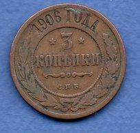 Russie -  3 Kopeks  1906  -  état  TB+ - Russia