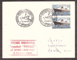 Voyage Inaugural Paquebot France - Le Havre à New-York - 3 Février 1962 - Postmark Collection (Covers)