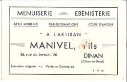 """MENUISERIE  EBENISTERIE   """"A L'ARTISAN""""  -MANIVEL , FILS  DINAN - Cartes De Visite"""