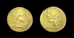 COPIE - Pièce Plaquée OR Sous Capsule ! ( GOLD Plated Coin ) - Rome - Aureus Tibère 14 - 37 AD - 1. The Julio-Claudians (27 BC To 69 AD)