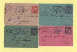 Pneumatique - Lot De 4 Cartes Lettre Type Chaplain - 1877-1920: Période Semi Moderne