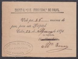 E6261 CUBA 1891 HOSPITAL DE SAN FERNANDO, COLON. VALE DE RACIONES DE PAN - Documentos Históricos