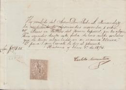 "E6267 CUBA SPAIN. PAYMENT OF THE RENT BLACK SLAVES OF SUGAR MILL ""UNION"". 1874. - Documentos Históricos"