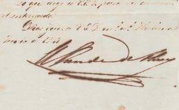 BE720 CUBA SPAIN 1849 SIGNED DOC CAPTAIN GENERAL FEDERICO ROCALY, CONDE DE ALCOY. - Autógrafos