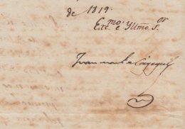BE727 CUBA SPAIN 1819 SIGNED DOC CAPTAIN GENERAL JUAN CAGIGAL. - Autógrafos