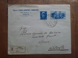 REGNO 1941 - Raccomandata Da Aosta A Aosta (busta Difettosa Retro) + Spese Postali - 1900-44 Victor Emmanuel III