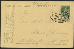 Entier CP Belge En Feldpost Obl. Ambt GENT-COURTRAI Zug 176 Vers L'All. 1915 - Guerre 14-18