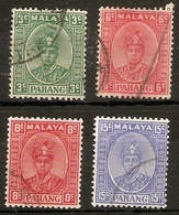 MALAYA - PAHANG 1937 - 1941 VALUES 3c, 6c, 8c, 15c SG 31a, 34, 36, 39 FINE USED Cat £183 - Pahang
