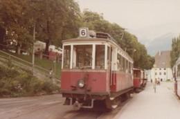 Chemins De Fer - Tramway Trains - Photographie - Autriche - Motrice Gare Bergisel Innsbrück - 1979 - Tramways