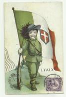 BERSAGLIERE BAMBINO CON BANDIERA ITALIANA INVIATA DA DETROIT NEL 1932 VIAGGIATA FP - Illustratori & Fotografie