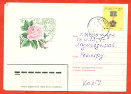 Kazakhstan 1997. Rose. The Envelope Passed Mail. - Kazakhstan