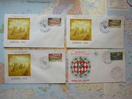 5 Oblitérations Premier Jour De Monaco 1956-1962 - Covers & Documents