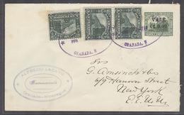 NICARAGUA. 1916 (Feb). Granada - USA, NYC. 0,02c Green Ovptd Stat Env 3 Adtls Violet Oval Cachets. VF. - Nicaragua