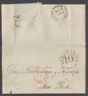 PUERTO RICO. 1862 (24 Sept). San Juan - USA, NYC. Via St Thomas - DWI. EL Full Text Red San Juan Crown Paid Circle (xxx) - Puerto Rico