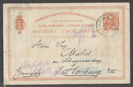 D.W.I.. 1911 (10 June). St Thomas - Germany, Harburg. 10ore Red Stat Card Used. - Antillas Holandesas