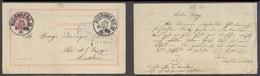 PORTUGAL - Stationery. 1895 (24 Sept). Germany, Nuremberg - Lisbon (27 Sept). Reply Half 20rs Rose Sent Back Proper Usag - Sin Clasificación