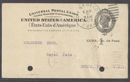 CUBA. 1905 (7 Enero). Cienfuegos - USA. 1c Perforado 2c US Ovptd Stat Card. Rarisima Circulada Agujeros De Archvo. Oport - Cuba