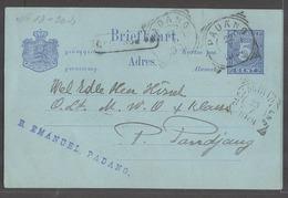 DUTCH INDIES. 1901 (22 July). Padang - P. Pandjang. 5c Blue On Bluish Stat Card. Fine Local Usage With Boxed Stline Name - Indes Néerlandaises