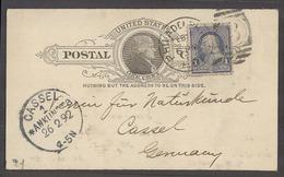 USA - Stationery. 1892 (15 Feb). Philadelphia - Germany, Cassel (26 Feb). 1c Black Stat Card 1c Adtl Tied Cds. Fine Reve - Unclassified