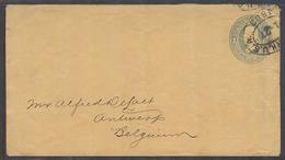 USA - Stationery. 1883 (27 Jan). NYC - Belgium, Antwerp. 1c Blue Yellow Stat Env. Fine Used. Unusual. - United States