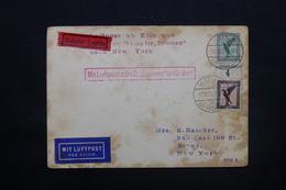 """ALLEMAGNE - Enveloppe De Köln Pour New York Par Avion En Exprès Par """" Bremen """" En 1929 - L 28299 - Storia Postale"""