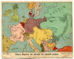 Rus* . Politics. Propaganda. Map Of Europe In Faces. Double. Rarity. - Russia