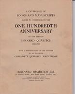 """(C 3) Catalogue Of Books And Manuscripts   """"Bernard Quaritch"""" 1847/1947 - Culture"""