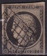 France 1849-50 Ceres Typographie 20 Centimes Noir S. Jaune Non-dentelé Y & T  Nr. 3 - 1849-1850 Cérès