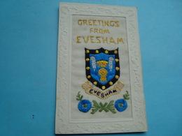 Angleterre - Evesham - Carte Brodée - Greetings From Evesham - 1917 - Worcestershire