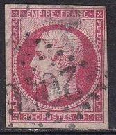 France 1853-60 Napoleon III Empire Franc. 80 Centimes Carmin Foncé Non-dentelé Y & T  Nr. 17 A - 1853-1860 Napoleon III