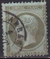 France 1862 Napoleon III Empire Franc. Papier Teinté 1 Centime Olive Dentelé Y & T  Nr. 19 - 1862 Napoleon III