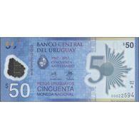 TWN - URUGUAY NEW - 50 P. U. 2017 (2018) Polymer - 50th Ann. Of Banco Central Del Uruguay - Serie A - Low Serial UNC - Uruguay