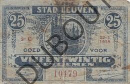 LEUVEN Noodgeld/Argent De Necessité 1918 0,25 Franc Gebruikt Exemplaar  (G132) - [ 3] Occupazioni Tedesche Del Belgio