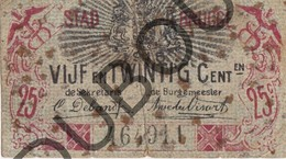 BRUGGE Noodgeld/Argent De Necessité 1918 0,25 Ct Gescheurd, Deels Hersteld, Roestvlekken (G123) - [ 3] Occupazioni Tedesche Del Belgio